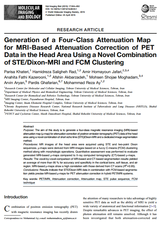Generation of 4-Class Attenuation Map for MRI Based Attenuation Correction of PET Data in the Head Area Using a Novel Combination of STE/DIXON-MRI and FCM Clustering