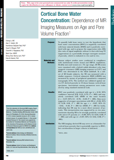 MRI Measures of Cortical Bone Water Concentration: Dependence on Age and Pore Volume Fraction